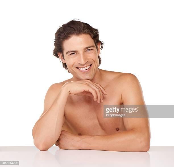 sensación de mi mejor que nunca! - hombre desnudo fondo blanco fotografías e imágenes de stock