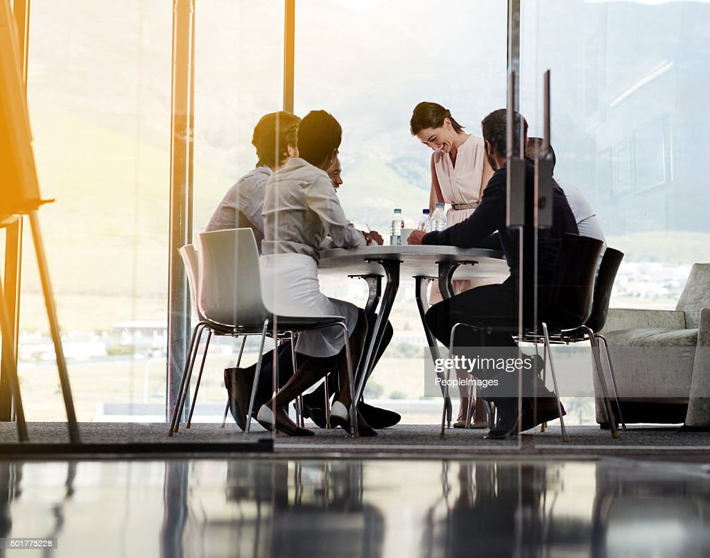 Feeling positive about today's meeting : Stock Photo