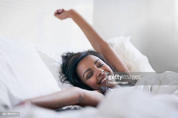 feeling rested and refreshed - waking up stock pictures, royalty-free photos & images