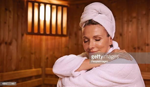 Sensação serene na sauna