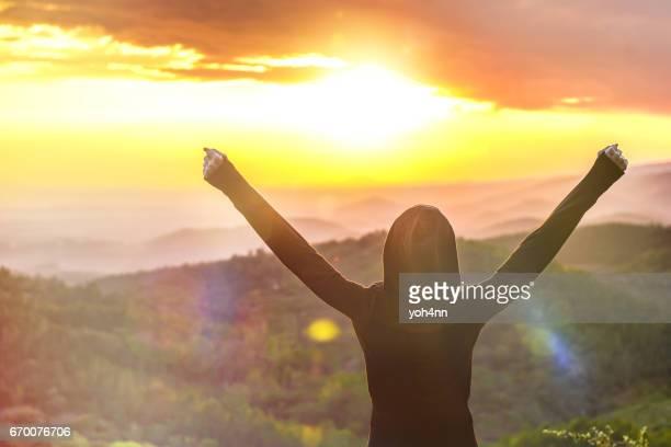 Feeling success & beautiful sunset