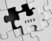 Fees text on puzzle background.
