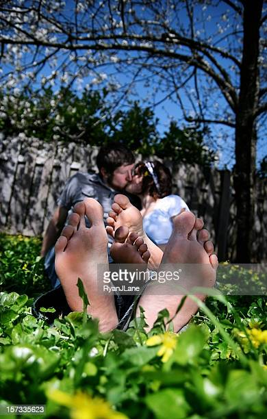 feet and kiss - barefoot footsie stock photos and pictures