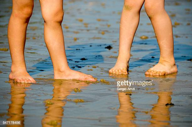 Feet and legs of two small children reflected on a wet sand beach