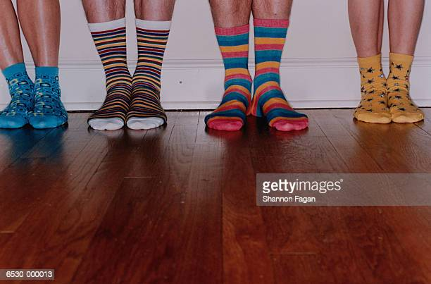 Feet in Assortment of Socks
