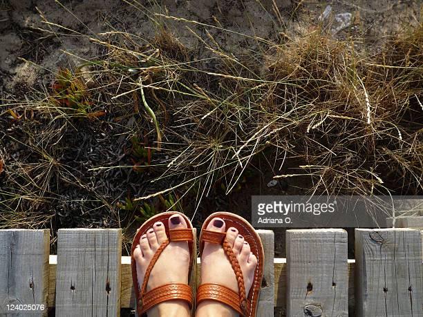 Feet in dune walkway