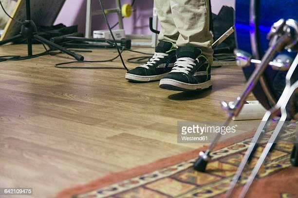 Feet of a musician during a music rehearsal