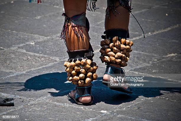 feet of an aztec dancer in mexico city - aztec civilization stock photos and pictures