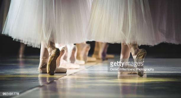 feet of ballerinas dancing. - fashion show bildbanksfoton och bilder