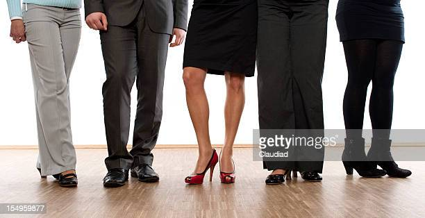 Feet of business people