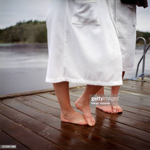 Feet of Mature Couple on Jetty