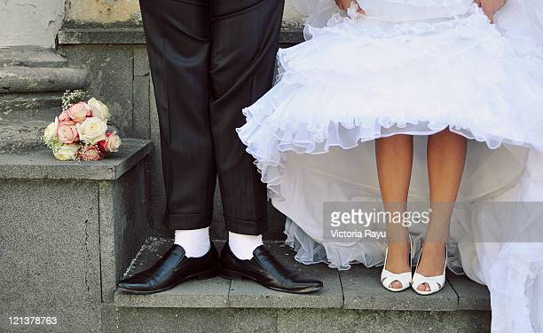 Feet of newly married couple