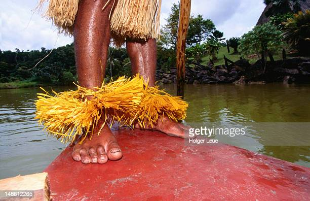 feet of raft tour guide at cultural centre. - fiji stock pictures, royalty-free photos & images