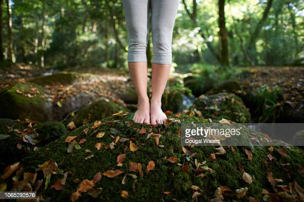 feet on moss covered rock in autumn woodland. - barfuß stock-fotos und bilder