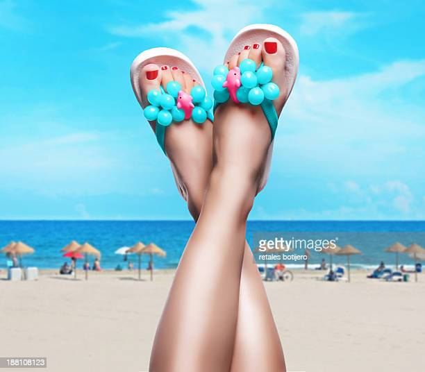 feet up in summertime - legs crossed at ankle stock pictures, royalty-free photos & images