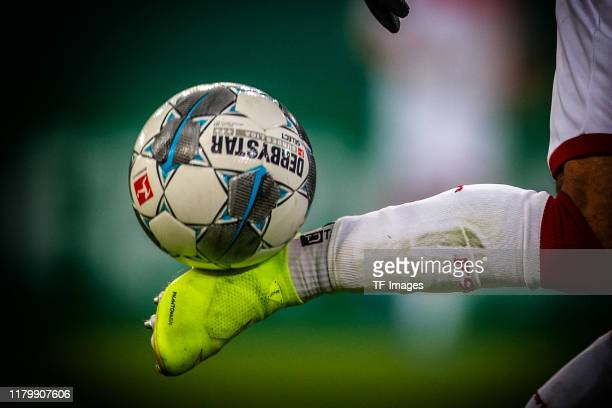 feet with ball is seen during the DFB Cup second round match between Fortuna Duesseldorf and Erzgebirge Aue at Merkur SpielArena on October 30 2019...