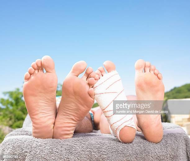 feet with bandage
