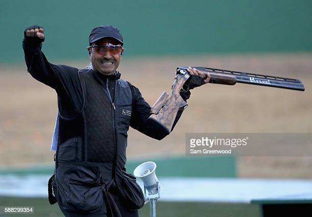 Fehaid Aldeehani reacts to winning the qualifying match for the Double Trap event on Day 5 of the Rio 2016 Olympic Games at the Olympic Shooting...