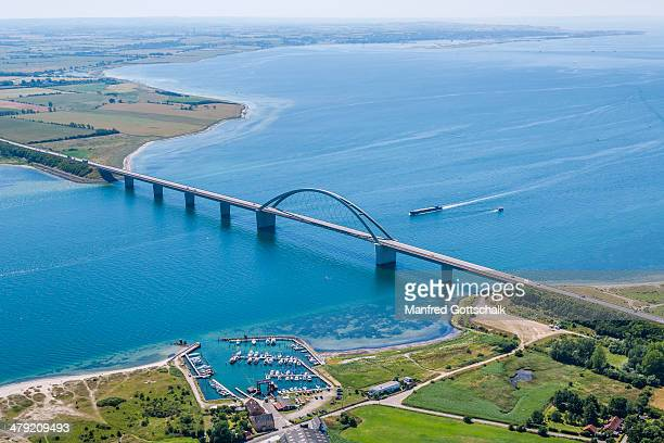 fehmarn sound bridge aerial view - fehmarn stock pictures, royalty-free photos & images