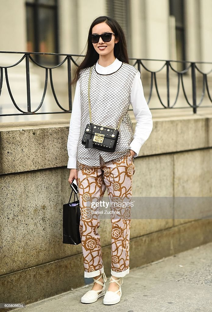 Fei Fei Sun is seen outside the Anna Sui show during New York Fashion Week Spring 2017 on September 14, 2016 in New York City.