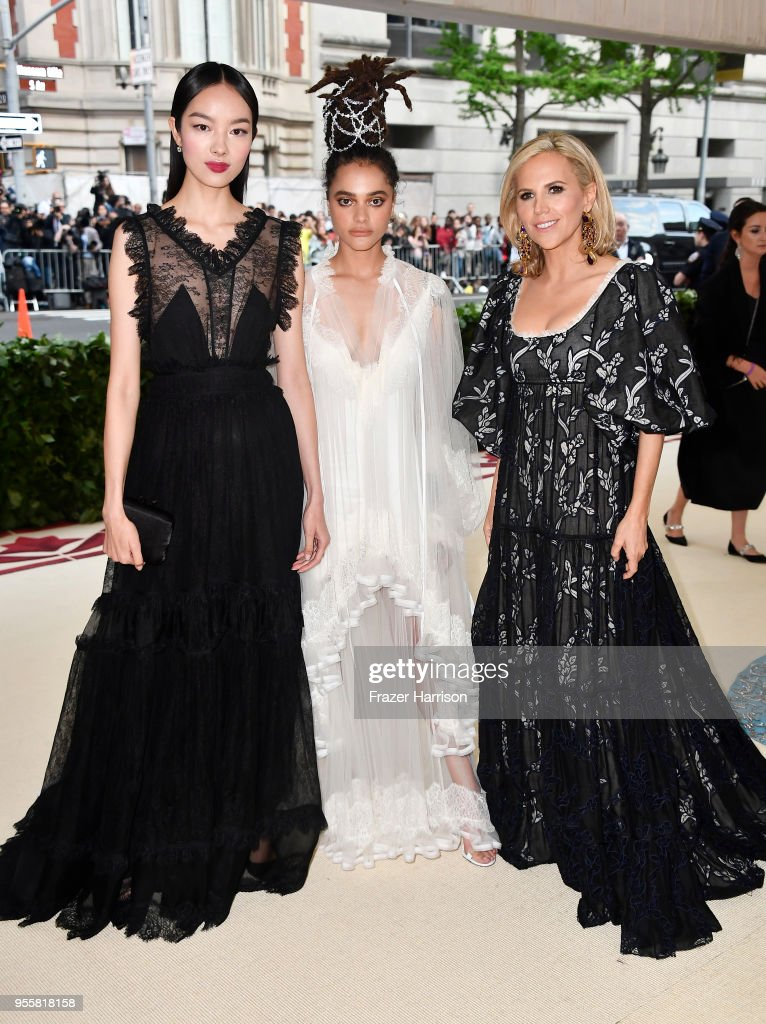 Fei Fei Sun, Sasha Lane, and Tory Burch attend the Heavenly Bodies: Fashion & The Catholic Imagination Costume Institute Gala at The Metropolitan Museum of Art on May 7, 2018 in New York City.