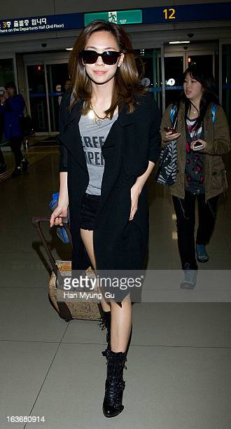 Fei of girl group Miss A is seen on departure to Thailand at Incheon International Airport on March 14 2013 in Incheon South Korea