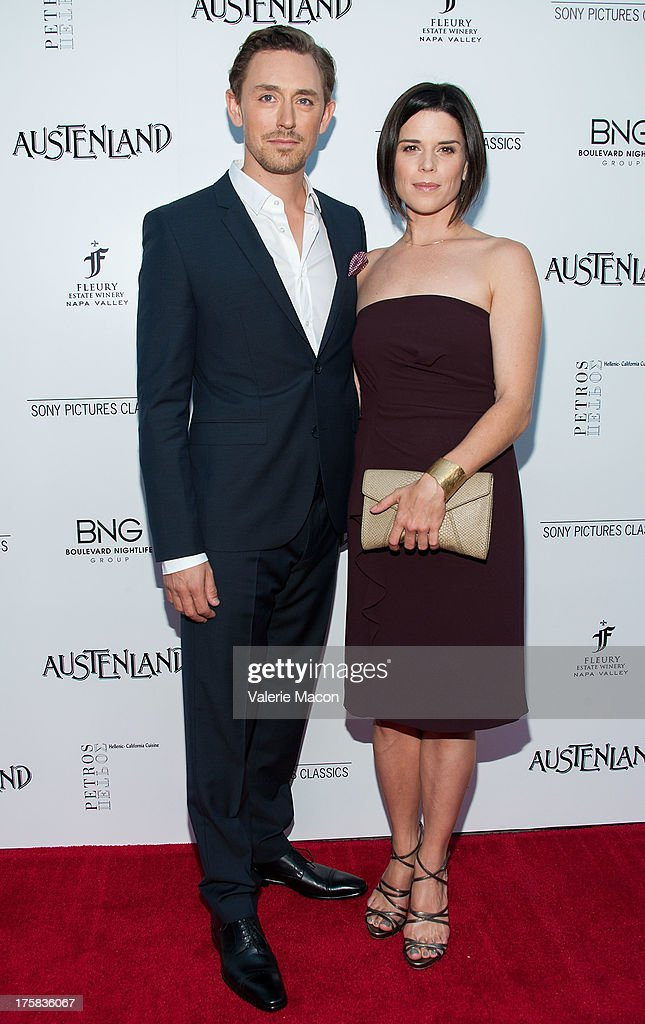 J.J. Feild and Neve Campbell arrive at the Premiere Of Sony Pictures Classics' 'Austenland' at ArcLight Hollywood on August 8, 2013 in Hollywood, California.
