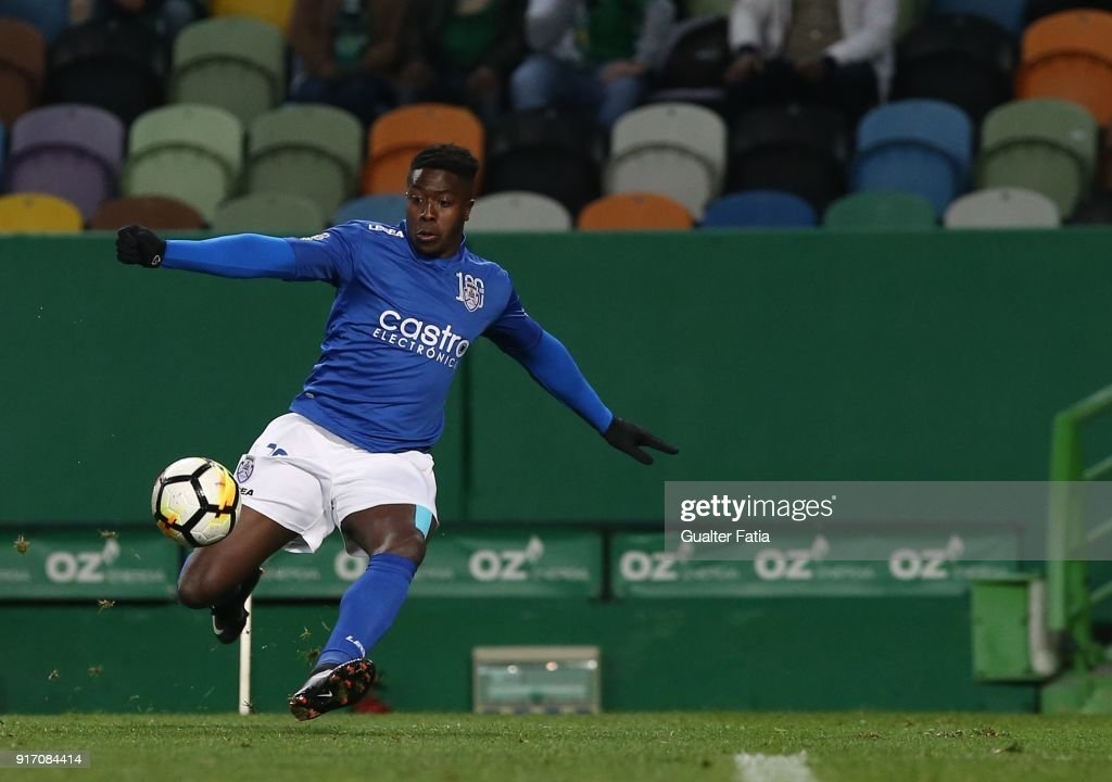 CD Feirense forward Jose Valencia from Colombia in action during the Primeira Liga match between Sporting CP and CD Feirense at Estadio Jose Alvalade on February 11, 2018 in Lisbon, Portugal.