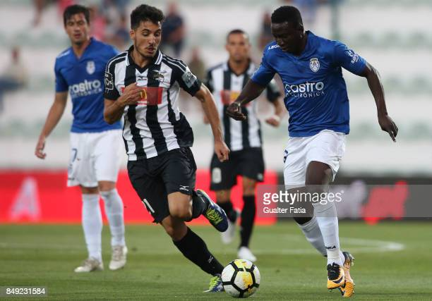 Feirense forward Peter Etebo from Nigeria with Portimonense SC midfielder Pedro Sa from Portugal in action during the Portuguese Primeira Liga match...