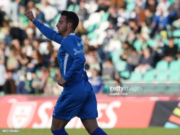 Feirense's forward Luis Machado from Portugal celebrates after scoring a goal during the Primeira Liga match between Vitoria Setubal and CD Feirense...