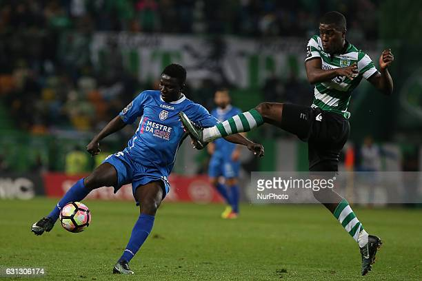 Feirense's forward Peter Etebo from Cabo Verde and Sportings forward Joel Campbell from Costa Rica during Premier League 2017/17 match between...