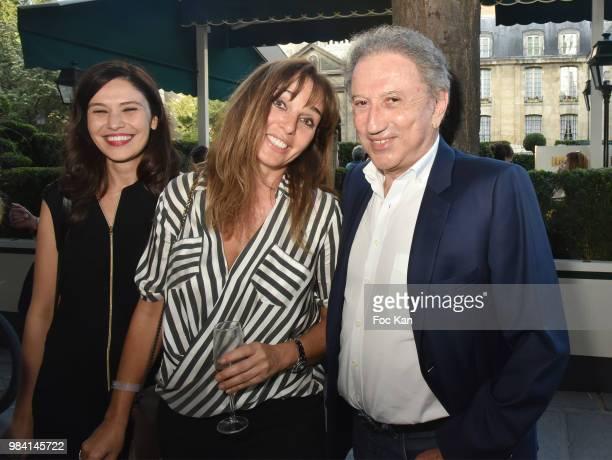 Feirouz Guettiche writer Anna Veronique El Baze and Michel Drucker attend 'L'Ete Litteraire Des Deux Magots ' Book Signing Cocktail at Les Deux...
