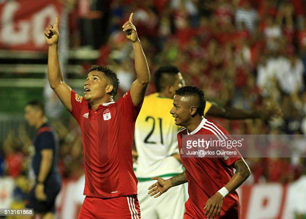 Feiver Mercado of America de Cali celebrates after scoring the fourth goal of his team during a match between Orsomarso and America de Cali as part...