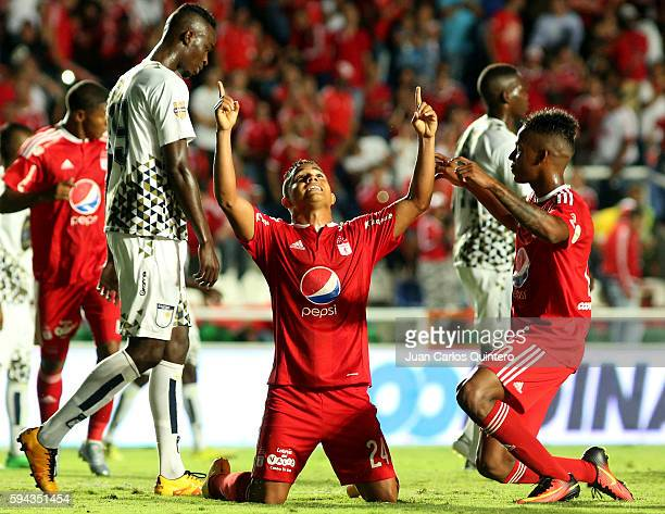 Feiver Mercado of America de Cali celebrates after scoring the fourth goal of his team during a match between America de Cali and Atletico FC as part...