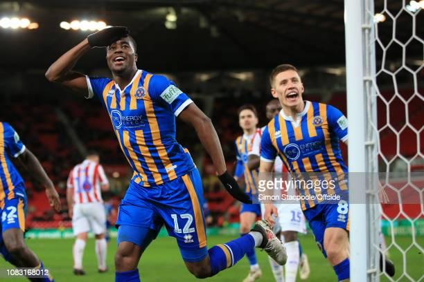 Fejiri Okenabirhie of Shrewsbury celebrates after scoring their 2nd goal during the FA Cup Third Round Replay match between Stoke City and Shrewsbury...