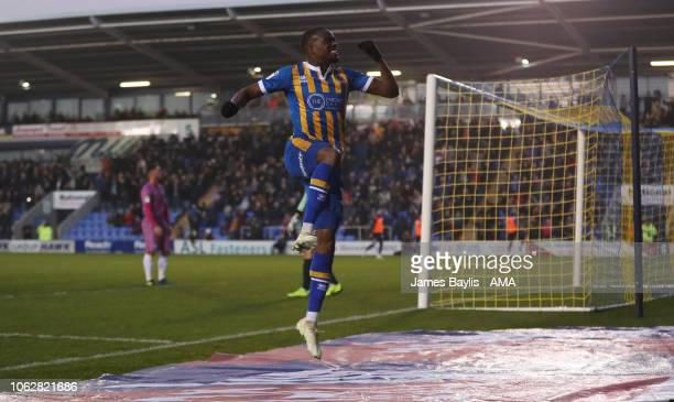 Fejiri Okenabirhie of Shrewsbury Town celebrates after scoring a goal to make it 22 during the Sky Bet League One match between Shrewsbury Town and...