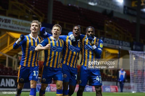 Fejiri Okenabirhie of Shrewsbury Town celebrates after scoring a goal to make it 32 during the Sky Bet League One match between Bradford City and...