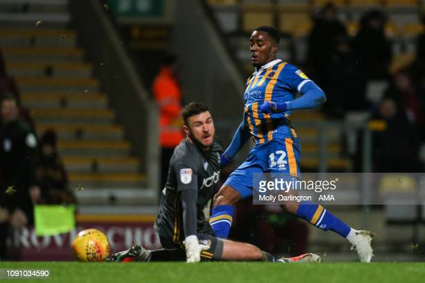 Fejiri Okenabirhie of Shrewsbury Town scores a goal to make it 11 during the Sky Bet League One match between Bradford City and Shrewsbury Town at...