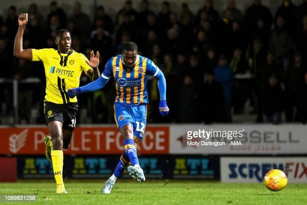 Fejiri Okenabirhie of Shrewsbury Town scores a goal to make it 21 during the Sky Bet League One match between Burton Albion and Shrewsbury Town at...