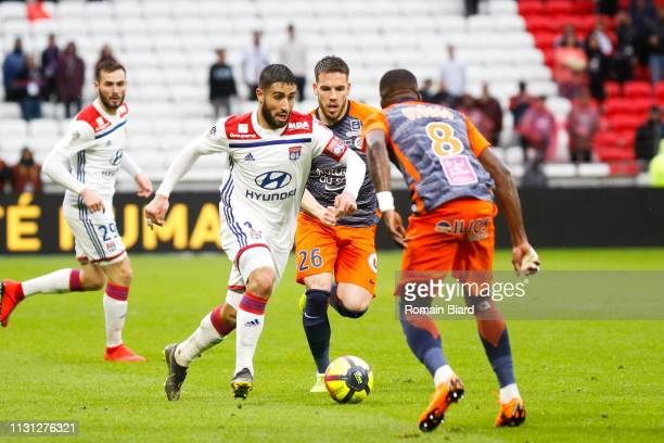 Fekir Nabil of Lyon and Ristic Mihailo of Montpellier and Oyongo Bitolo Ambroise of Montpellier during the Ligue 1 match between Lyon and Montpellier...