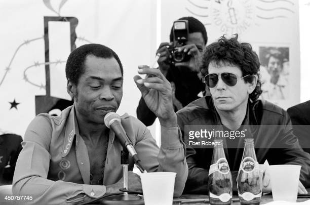 Fela Kuti and Lou Reed at the press conference for the Amnesty Benefit Concert held at Giants Stadium at the Meadowlands in East Rutherford New...