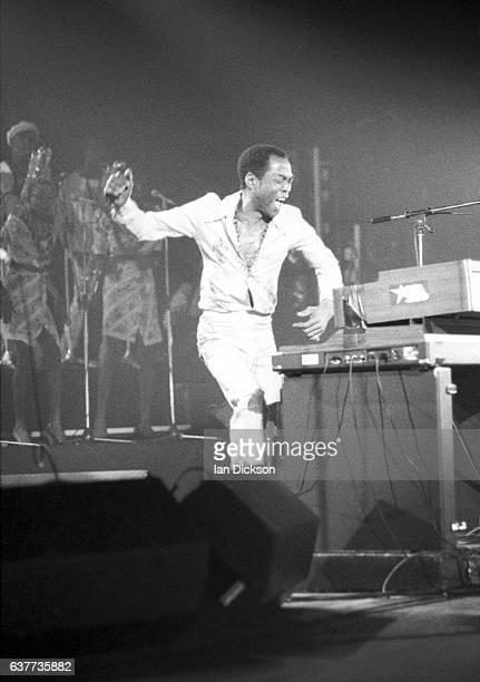 Fela Kuti performing on stage at Brixton Academy London 12 November 1983