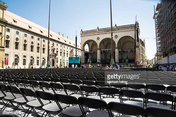 CONTENT] Feldherrnhalle on Odeonsplatz prepared for an open air concert Munich Bavaria Germany