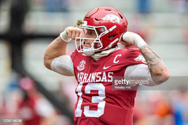 Feleipe Franks of the Arkansas Razorbacks celebrates after scoring a touchdown in the first half of a game against the LSU Tigers at Razorback...