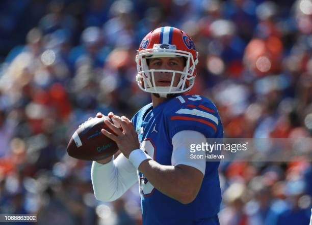 Feleipe Franks of the Florida Gators drops back to pass during the first half of their game against the Idaho Vandals at Ben Hill Griffin Stadium on...