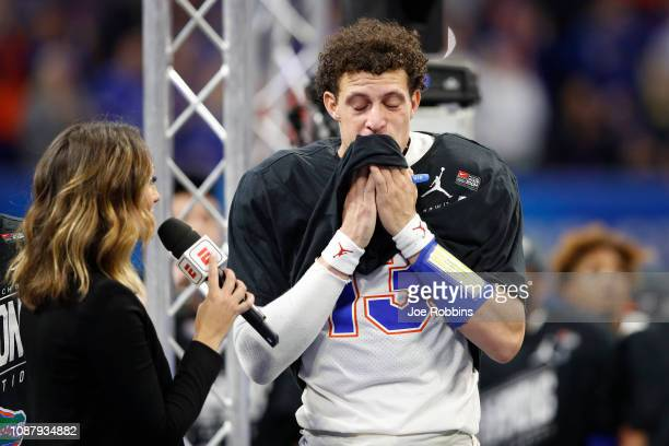 Feleipe Franks of the Florida Gators is interviewed after his teams win over the Michigan Wolverines during the ChickfilA Peach Bowl at MercedesBenz...