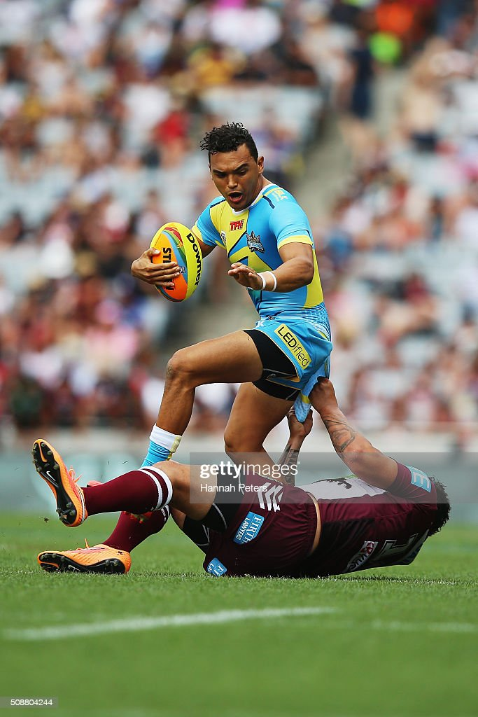 Feleti Mateo of the Manly-Warringah Sea Eagles tackles Matthew Srama of the Gold Coast Titans during the 2016 Auckland Nines quarter final match between the Manly Sea Eagles and the Gold Coast Titans at Eden Park on February 7, 2016 in Auckland, New Zealand.