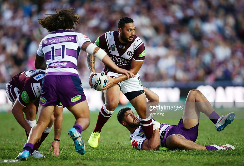 Feleti Mateo of the Sea Eagles takes on the defence during the round two NRL match between the Manly Warringah Sea Eagles and the Melbourne Storm at Brookvale Oval on March 14, 2015 in Sydney, Australia.