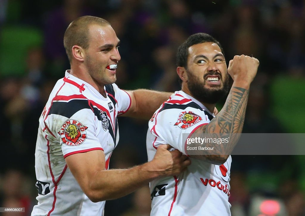 Feleti Mateo of the Warriors celebrates after scoring a try during the round 8 NRL match between the Melbourne Storm and the New Zealand Warriors at AAMI Park on April 25, 2014 in Melbourne, Australia.