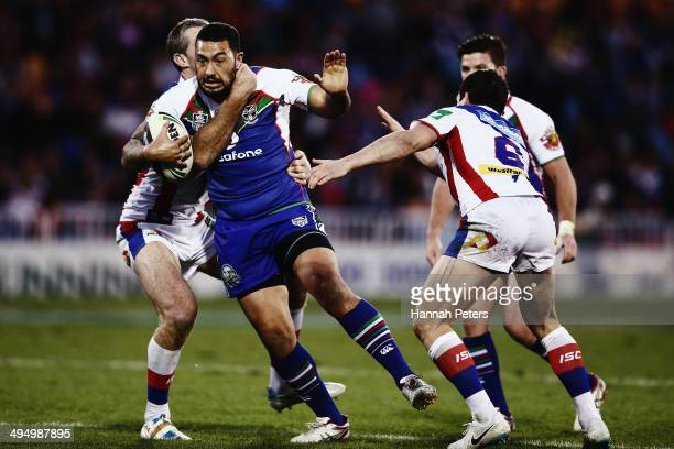 Feleti Mateo of the Warriors charges forward during the round 12 NRL match between the New Zealand Warriors and the Newcastle Knights at Mt Smart...